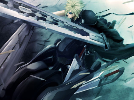 Обои Cloud Strife / Клауд Страйф с огромным мечом из аниме Final Fantasy VII: Advent Children / Последняя фантазия VII: Дети пришествия