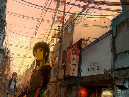 Обои Аниме-девушки на улице города