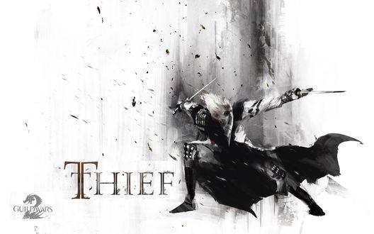 Обои Видео игра Guild Wars, Злобный парень в маске с мечами в руках (Thief)