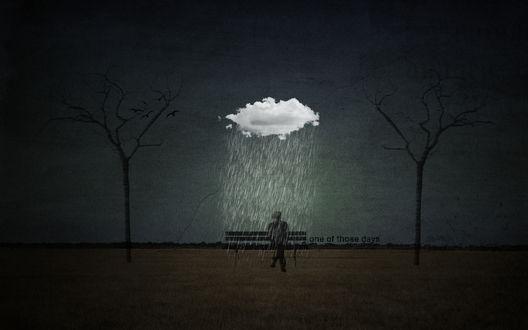 Обои Грустная картина, мужчина сидит на лавочке и мокнет под дождём, рядом надпись 'one of those days'