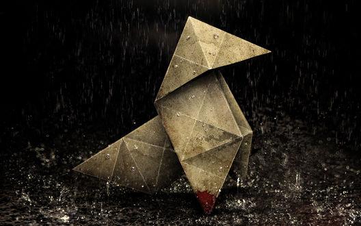 Обои Игра 'heavy rain', оригами мокнут под дождём