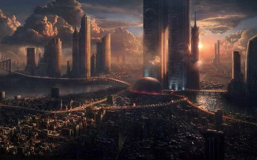 Обои Город будущего
