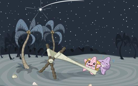 Обои Звезда превращает другую звезду в падающую с помощью рогатки