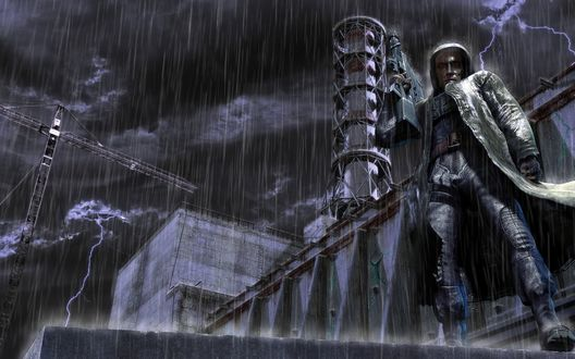 Обои Вооружённый человек на фоне Чернобыльской атомной электростанции (ЧАЭС) во время сильного дождя по мотивам произведений серии СТАЛКЕР / STALKER