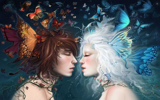 Обои Зима и Осень материализованные в виде парня и девушки