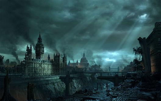 Обои Лондон. Картина пост апокалипсиса