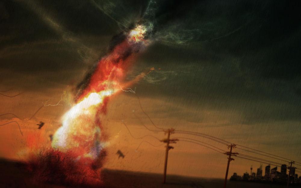 Обои для рабочего стола К городу приближается, сметая всё на своём пути, огненный торнадо