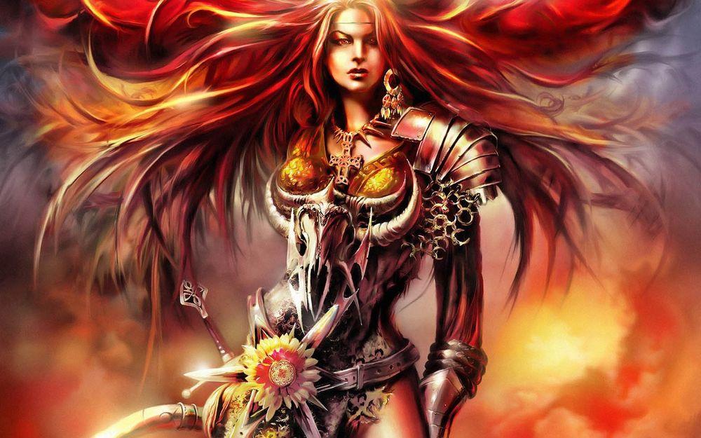 Обои для рабочего стола Воительница с огненными развивающимися волосами в металлических доспехах из игры Магия крови / Dawn of Magic (Blood Magic)