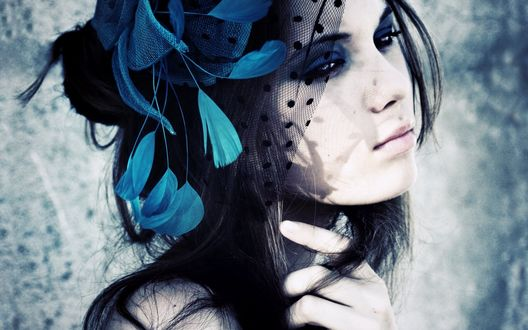 Обои Печальная девушка в вуали с голубыми перьями