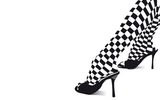 Обои Шахматные колготки на ногах
