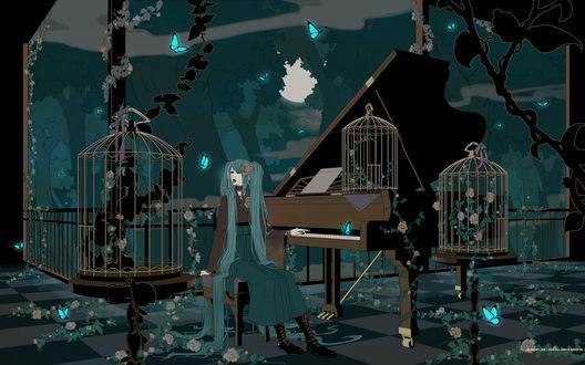 Обои Вокалоид Хатсуне Мику сидит на веранде, играет на фортепьяно и поёт, рядом стоят большие пустые клетки, оплетённые дикими розами и летают неоновые бабочки