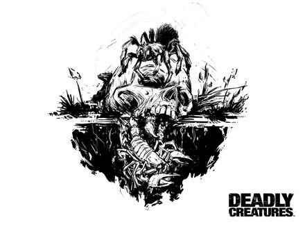 Обои Череп в земле с тарантулом и скорпионом (Deadly creatures)