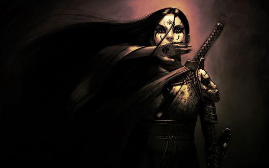 Обои Девушка-воин в татуировках и с мечом за спиной