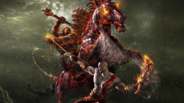 Обои Монстр на огненном коне сражается огромным молотом с Кратосом / Kratos из игры God of War / Бог войны