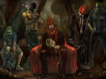 Обои Аниме-монстры и их предводитель с ручным псом