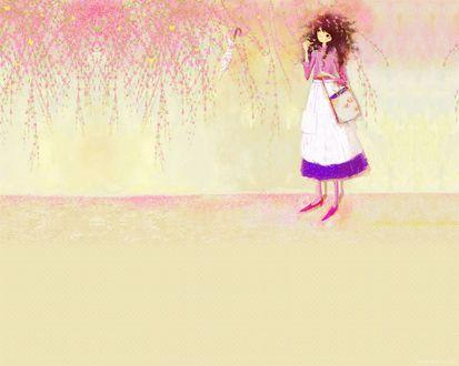 Обои Девушка стоит под свисающими со стены цветами в которых запутался зонтик и летают жёлтые бабочки