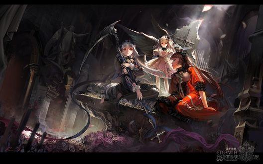 Обои Три девушки из аниме 'Rozen Maiden / Девы Розы' (ETERNITA Forgotten Melody)