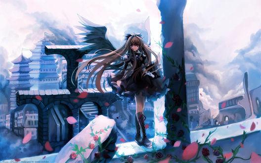 Обои Готичный ангел стоит на развалинах стены