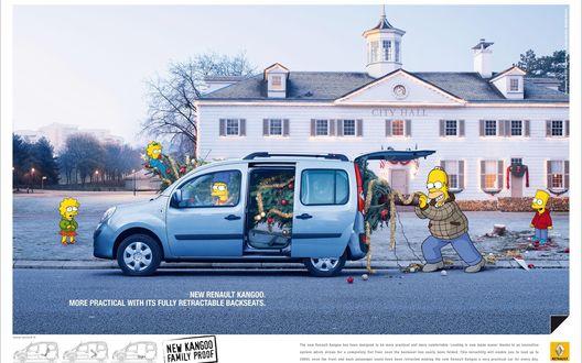 Обои Гомер, Барт, Мардж Симпсоны и вся семья запихивает елку в минивен Renault (City Hall, New renault kangoo/ More practical with its fully retractable backseats.)