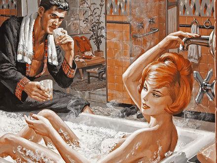 Обои Рыжая девушка принимает ванну, на краю который сидит мужчина и смотрит на нее протягивая стакан сока (SPollen)