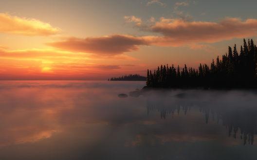 Обои Туман над рекой