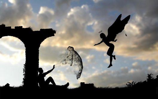 Обои Ангел, парень и его душа на фоне заката