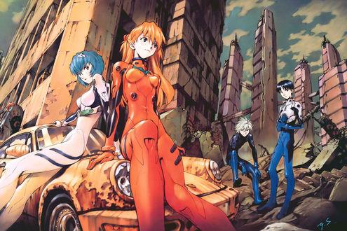Обои Рей, Аска, Синдзи и Каору из аниме Evangelion / Евангелион