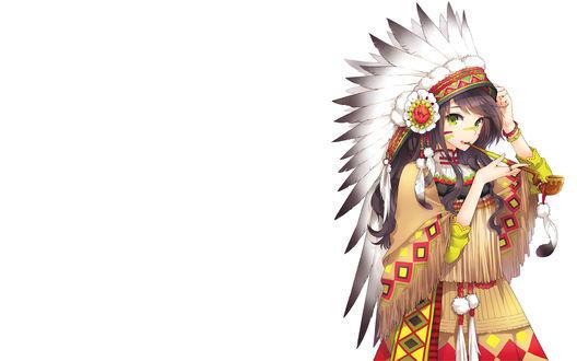 Обои Анимешная девушка в костюме индейца с трубкой