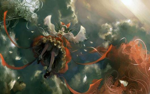 Обои Рэйму Хакурэй / Reimu Hakurei из серии игр и аниме Тохо / Touhou падает с небес
