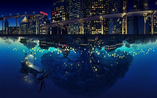 Обои В ночном городе робот сидит на развалинах полузатонувшего корабля, а в воде отражается дерево