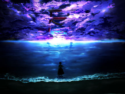 Обои Девушка стоит в море и смотрит на небесные врата вдали