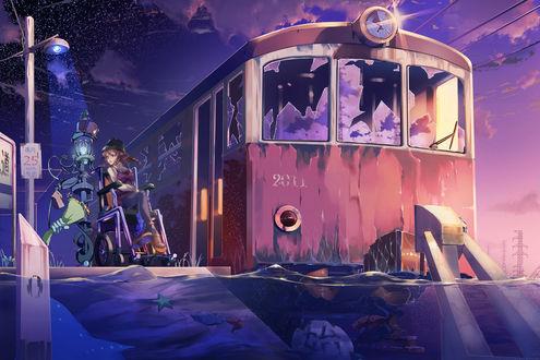Обои Девочка на инвалидном кресле и робот с букетом цветов у заброшенного поезда