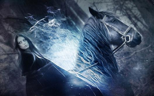 Обои Девушка ведьма верхом на коне. Рядом с ней дым в форме дракона
