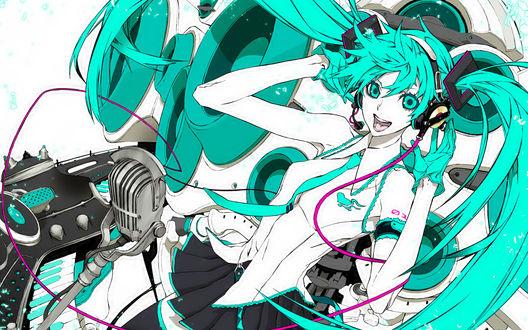 Обои Vocaloid / Вокалоид Мику Хатсуне в студии у микрофона
