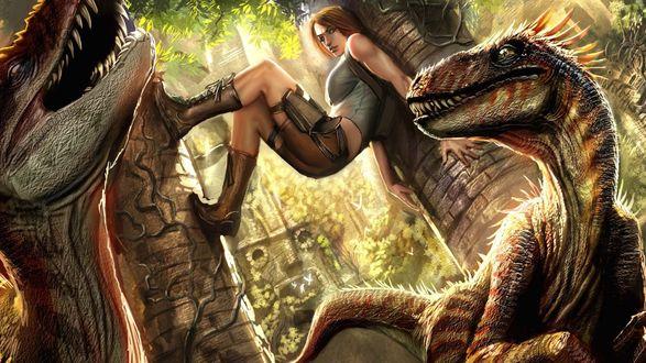 Обои Лара Крофт / Lara Croft спасается от динозавров из серии игр Tomb Raider / Расхитительница гробниц