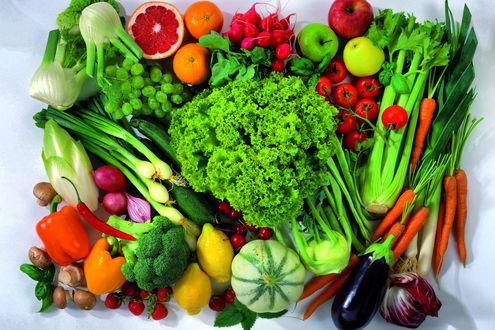 Обои Микс из овощей и фруктов