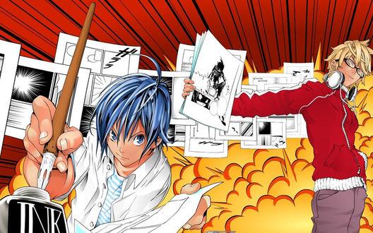 Обои Аниме и манга 'Бакуман' / 'Bakuman', Маоритака Масиро 'Сайко' и Акито Такаги 'Сюдзин'