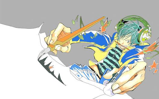 Обои Моритака Маширо / Moritaka Mashiro в наушниках яростно рисует мангу из аниме Бакуман / Bakuman, art by Takeshi Obata
