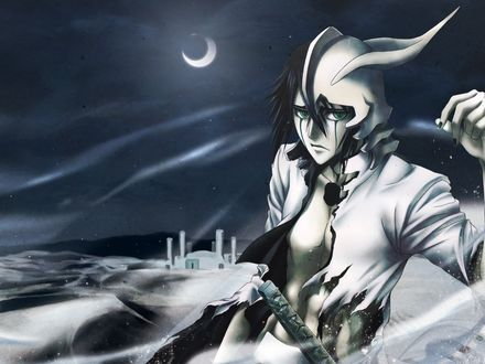 Обои Ulquiorra Schiffer / Улькиорра Шиффер ночью в пустыне из аниме 'Блич / Bleach'