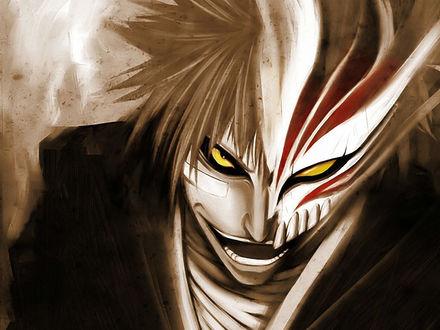 Обои Куросаки Ичиго / Kurasaki Ichigoi смотрит желтыми глазами исподлобья из аниме 'Блич / Bleach' в форме пустого