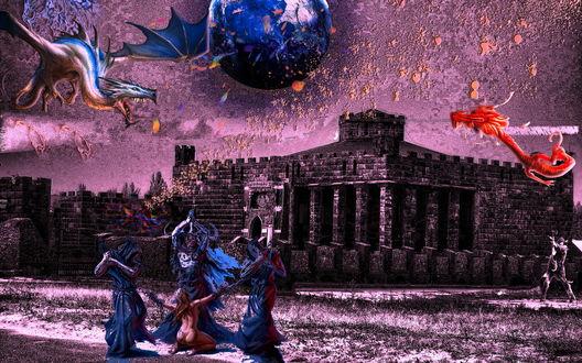 Обои Жертвоприношение на фоне замка и летающих драконов