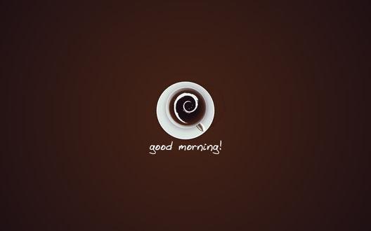 Обои Чашка кофе, вид сверху, good morning!