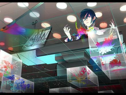 Обои Nico Nico Singer стоит и смотрит на падающий поднос с хирургическими инструментами