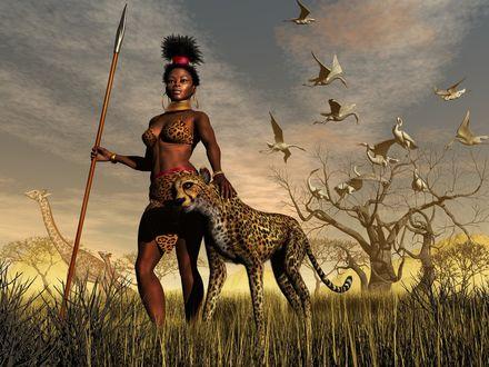 Обои Индианка, вооружённая копьём, на охоте с верным ягуаром