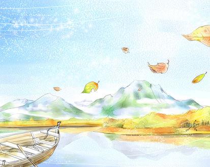 Обои Лодка на фоне осеннего пейзажа