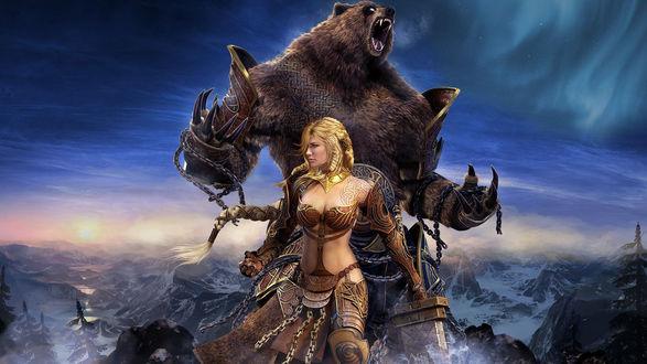 Обои Девушка-воин с медведем, разрывающим цепи