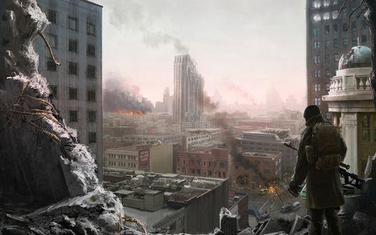 Обои Военный смотрит на разрушенный город
