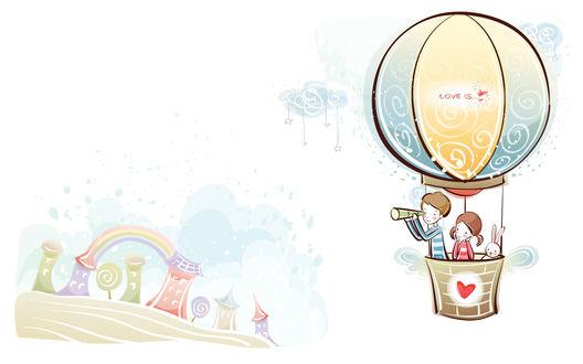 Обои Девочка, мальчик и зайчик летят на воздушном шаре (Love is...)