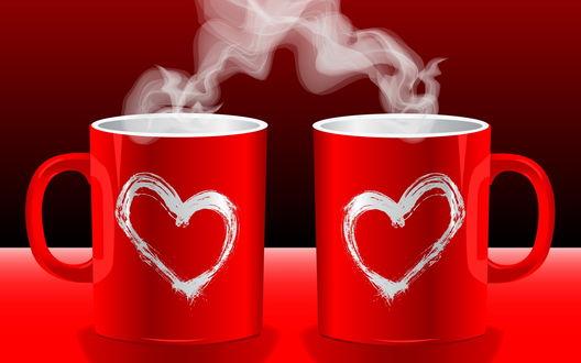 Обои Две красные чашки кофе с сердцами и паром