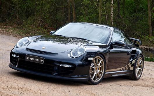 Обои Porsche 911 GT на дороге возле леса (Kubatech)
